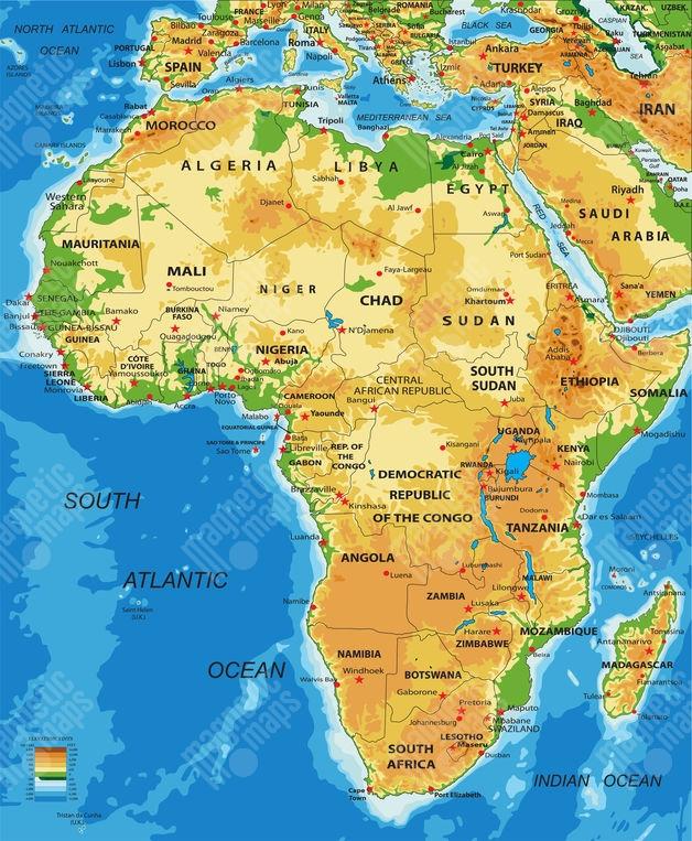 Magneticka Mapa Afriky Geograficka Barevna