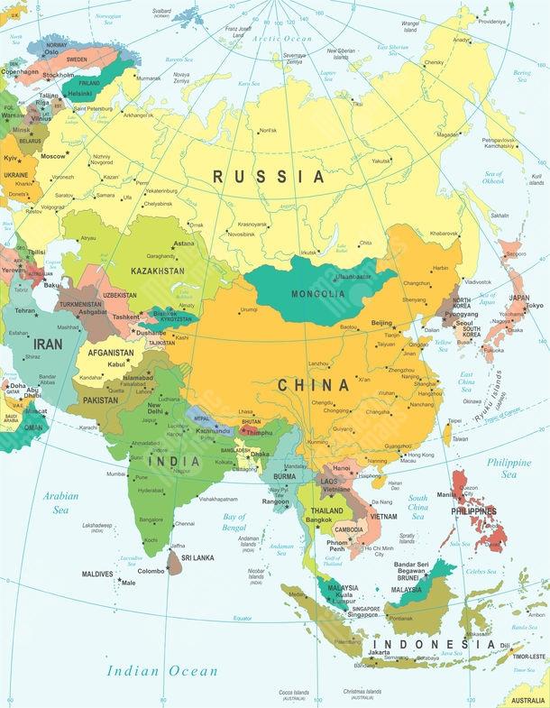 Magneticka Mapa Asie Politicka Barevna
