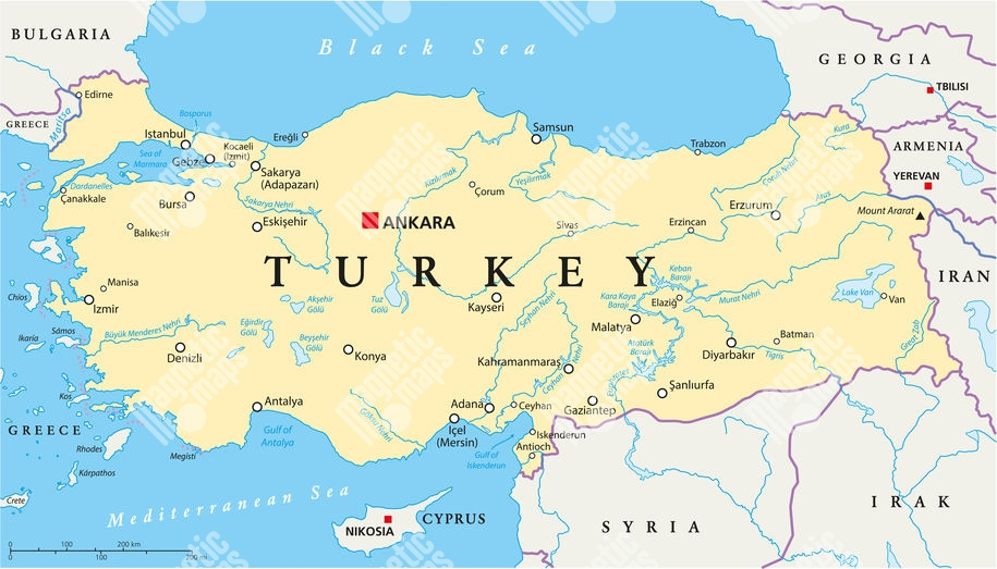 Magneticka Mapa Turecka Administrativni Barevna