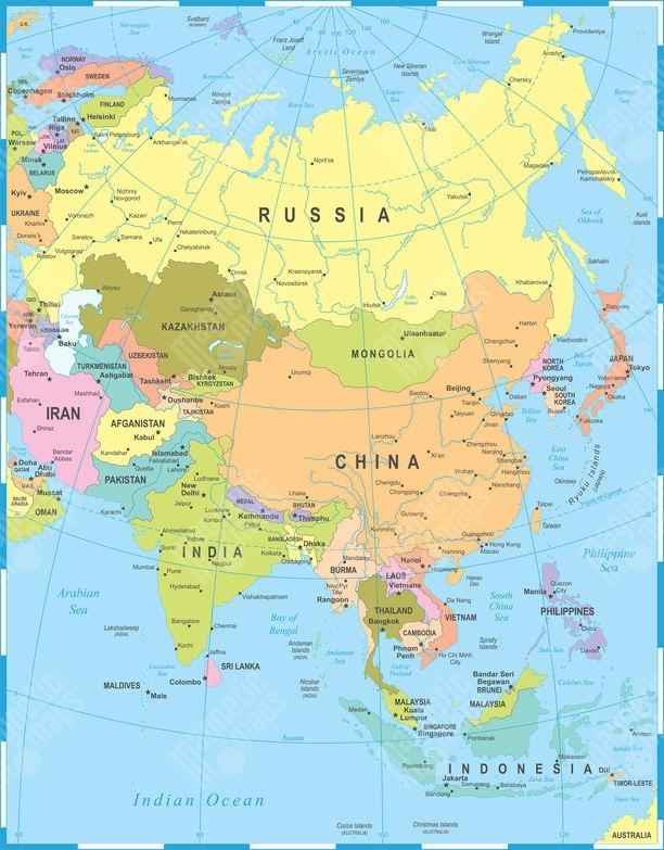 Mapa Sveta Mapy Asie