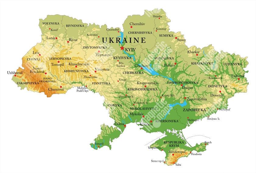 Magneticka Mapa Ukrajiny Geograficka Reliefni