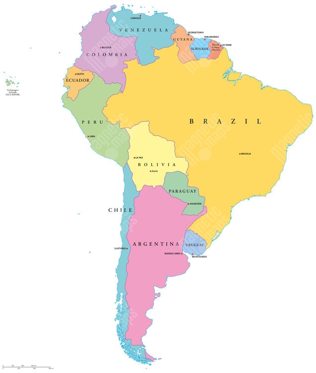 Magneticka Mapa Jizni Ameriky Ilustrovana Barevna