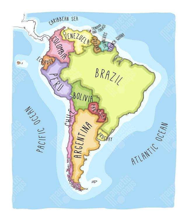 Magneticka Mapa Jizni Ameriky Kreslena Barevna