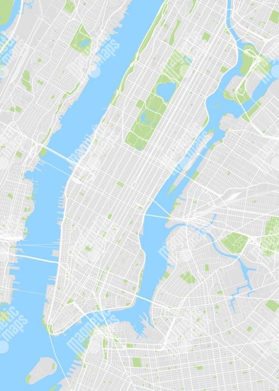 Magneticka Mapa New Yorku Ilustrovana Bez Popisku
