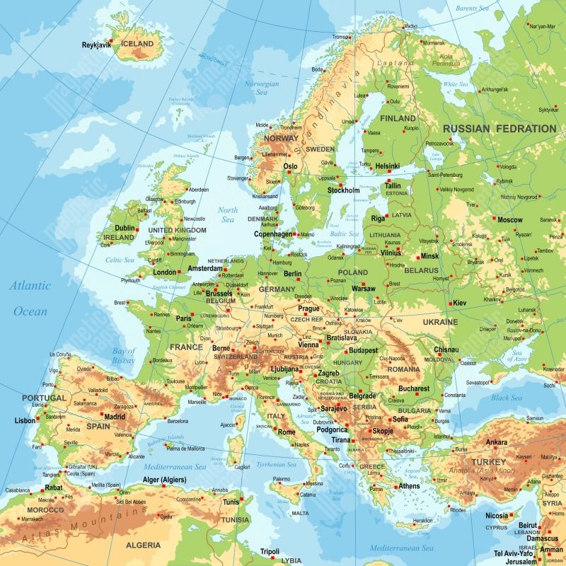 Magneticka Mapa Evropy Geograficka Barevna
