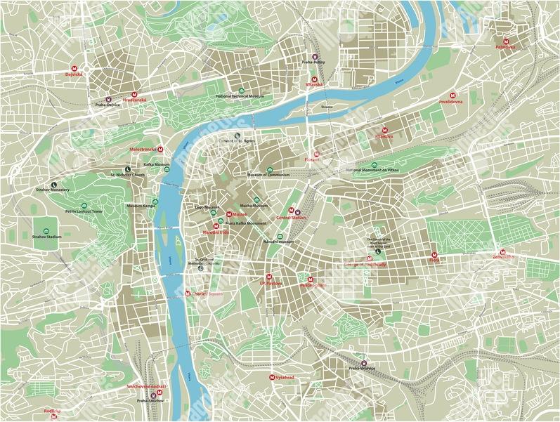 Magneticka Mapa Prahy Ilustrovana Barevna