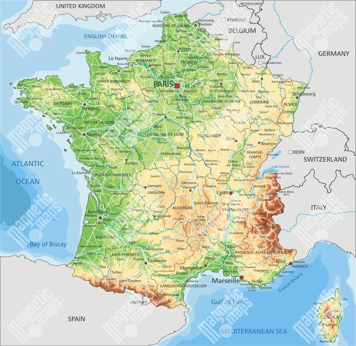 Magneticka Mapa Francie Geograficka Barevna