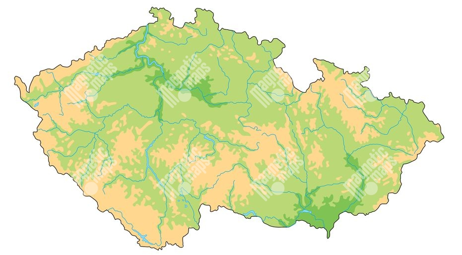 Magneticka Mapa Ceske Republiky Geograficka Bez Popisku